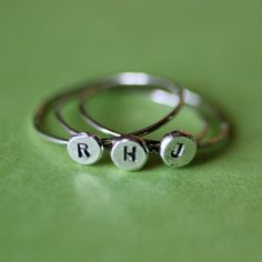 CUSTOM Recycled Silver Initial Rings by FruitionJewelry on Etsy