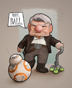 Star Wars & Up mash-up | Han Solo, BB8, Carl | Pixar | Disney | Move, Ball art by Brandon Kenney