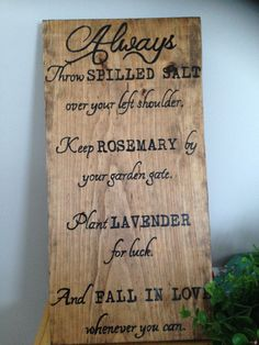 A Favorite Practical Magic quote. Hand painted wooden sign,