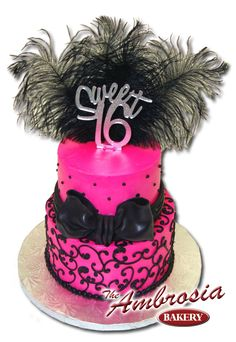 Pink & Black Sweet 16 Cake Idea