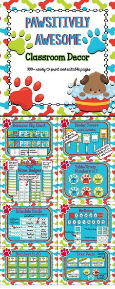 Puppy/Paw Print theme classroom. This colorful classroom decor contains 18 products. The preview shows a snippet of everything. Many products are editable so you can personalize any way you'd like.
