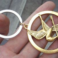 The Hunger Games pendant ,Inspired Mockingjay keychain antique golden