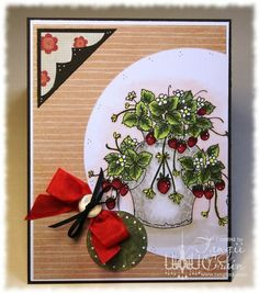 The Inking Spot of Crain Creations by Tangii Crain. Strawberry Pot by Just Inklined stamps. #cards, #copics, #stamping