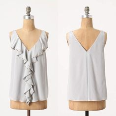 { Anthropologie } Split Ruffle Tank Gray So pretty! But I have too many clothes 😭 pains me list it. Silk and lined. Has bra keeps. Not thin or sheer - substantial. Excellent condition/like new. Worn once. By Leifsdottir. Anthropologie Tops Tank Tops