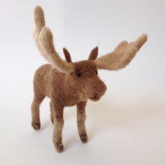 Needle Felted Moose Ornament by FeltedByRachel on Etsy