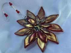Beautiful Red Gold Poinsettia Ornament  $25