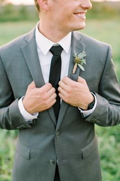 Grey suit: http://www.stylemepretty.com/2015/01/23/texas-outdoor-wedding-with-shades-of-blush/ | Photography: Mint - http://mymintphotography.com/