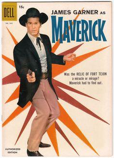 Maverick (Four Color Comics starring James Garner Old Comic Books, Vintage Comic Books, Vintage Comics, Comic Book Covers, Vintage Magazines, Western Comics, Maverick Tv, Photo Vintage, Vintage Tv