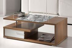 Mesa de centro con cristal adornado y cajón doble. Disponible en 3 colores.