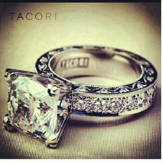 beautiful Tacori ring! This is the one for sure! Lol vintage look and princess cut!