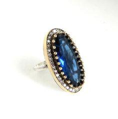 Vintage Sapphire & Topaz Ring Sterling Silver by LeesVintageJewels