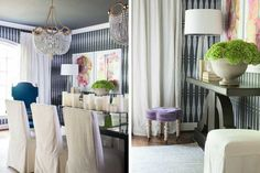 SIMPLE UNDERSTATED ELEGANT DINING ROOM TWO SPECTACULAR CHANDELIERS AND THE WALLPAPER ARE STUNNING. blue-dining-pair-p