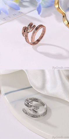 Fashion Rings Retro Alloy Cactus Tree Open Women Rings Tips in Selecting The Rig Cat Jewelry, Girls Jewelry, Pearl Jewelry, Hollow Heart, Sterling Sliver, Rings For Girls, Open Ring, Cute Rings, Pure Copper