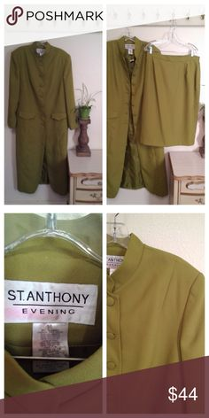 Beautiful womens Suit By St. Anthony Evening Long Sleeve Duster Coat and Skirt Suit  Church style womens Suit  Covered buttons Fully lined   Skirt zips at back and has some elastic in waist for comfort  Label:  St. Anthony Evening. Size 16  It is a brighter green in person  Need measurements, just ask. St. Anthony Evening  Other