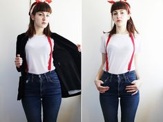 Second Hand Silky T Shirt, Cheap Monday Jeans, Second Hand Suspenders, From My Friend Scarf