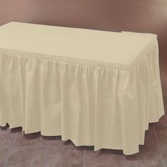 Hoffmaster Ivory Plastic Table Skirt 14' x 29 inch