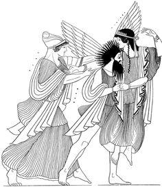 Boreas rapta a Oritía; Herse intenta ayudar a su hermana.  Dibujo sobre un ánfora del Pintor de Oritía, 470 a.n.e.