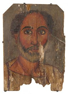 The Portrait of old man with a grey beard very clearly falls within a well-represented subset of portraits from er-Rubayat (fig. 2). These portraits depict men with varying degrees of grey in their hair and beards, and sometimes showing signs of balding. Typically they wear a cream chiton, with thin brown or pink clavi. A seam line, represented by dots, is shown across the shoulders and a cloak is draped over the left shoulder... This subset of portraits belongs to the Antonine period