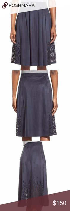 """NWT Elie Tahari Lorie Faux Suede Skirt Laser-cut panels at the sides add a contemporary twist to a soft faux-suede skirt in a rich blue shade. Waist-nipping pleats release swingy flare into the silhouette.  28"""" length. Side zip closure. 90% polyester, 10% elastane. Dry clean. By Elie Tahari; imported. Studio 121. Item #1141334 Elie Tahari Skirts Midi"""