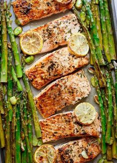 Easy Low Carb Meals Potato And Asparagus Recipe, Baked Salmon And Asparagus, Lemon Garlic Salmon, Baked Salmon Recipes, Roasted Salmon, Potato Recipes, Fish Recipes, Seafood Recipes, Keto Recipes