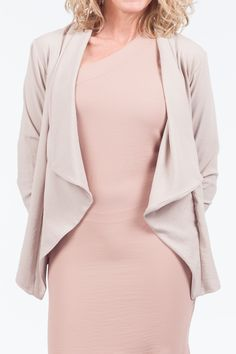 Take your look to the next level with this lapel sleeve jacket. This Jacket is a combination of quality and style. It features an open front, 3 quarter sleeves, and is a breathable fit. Quarter Sleeve, You Look, Bell Sleeve Top, Blouse, Fit, Sleeves, Jackets, Tops, Women