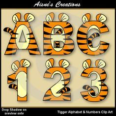 Tigger Alphabet Letters & Numbers Clip Art