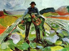 The man in the field of cabbage.  Edvard Munch 1916