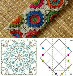 New Crochet Granny Square Purse Pattern Charts 58 Ideas Point Granny Au Crochet, Granny Square Crochet Pattern, Crochet Diagram, Crochet Chart, Crochet Squares, Crochet Stitches, Granny Squares, Hexagon Pattern, Free Pattern