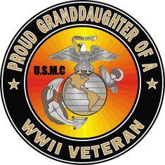 Proud Granddaughter of a US Marine Corps World War II Veteran Decal