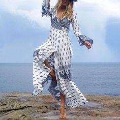 EDRS Boho Chic Wrap Maxi Dress