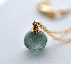 Moss Aquamarine Wire Wrapped Gemstone Pendant Necklace - Moss Aquamarine Onion Briolette Necklace in 14k Gold fill