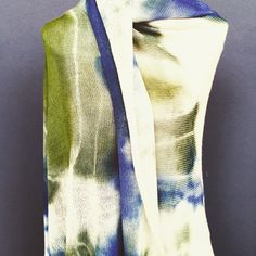 One of our shibori-style hand dyed wool shawls on display at the Cape Town wool week at the V&A Waterfront #cowgirlblues #merino #woolweek
