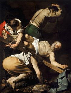 Museum Quality Antique Reproduction Print of The Crucifixion of Saint Peter by Caravaggio. The original artwork was painted by Caravaggio in the year Caravaggio, Baroque Painting, Baroque Art, Italian Baroque, Piet Mondrian, Henri Matisse, Claude Monet, Classic Paintings, Contemporary Paintings
