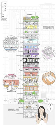 'Tiny Tokyo Tower', Mixed Use Community Microscraper - carmamasson.com