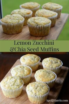 An easy to make recipe with the goodness of chia seeds that the whole family will love - Lemon Zucchini and Chia Seed Muffins Moist and gently spiced, these delicious Zucchini Lemon and Chia Seed Muffins are chock full of healthy ingredients. Healthy Meals To Cook, Good Healthy Recipes, Healthy Food, Healthy Eating, Healthy Salads, Raw Food, Breakfast Recipes, Dessert Recipes, Healthy Breakfast Muffins