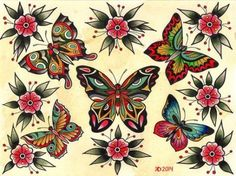 Traditional butterfly tattoo, butterfly with flowers tattoo, small flower tattoos, traditional tattoo, Traditional Butterfly Tattoo, Butterfly With Flowers Tattoo, Traditional Tattoo Flash, Small Flower Tattoos, Small Tattoos, Vintage Butterfly Tattoo, Butterfly Hand Tattoo, Butterflies, Old School Tattoo Designs