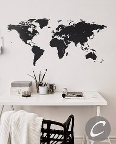 World map wall decal Vinyl Single color self by TheAmeliaDesigns
