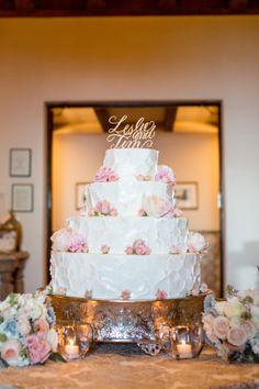 Stunning four-tiered cake: http://www.stylemepretty.com/california-weddings/santa-barbara/2015/08/26/elegant-santa-barbara-resort-wedding/ | Photography: Michael & Anna Costa - http://www.michaelandannacosta.com/