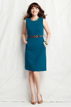 Women's Sleeveless Ponté Sheath Dress with Pockets from Lands' End: super flattering, $55 on sale, size down