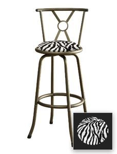 1 New Bronze Finish Metal Bar Stool With A Black U0026 White Zebra Cotton Print  Padded Seat Cushion Theme!