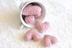 Set of 5 Hearts, Hand Knit, Wedding Decor, Spring Decor, Photo Prop by LunaCabCo on Etsy https://www.etsy.com/listing/100142678/set-of-5-hearts-hand-knit-wedding-decor