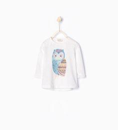 ZARA - KOLLEKTION AW15 - T-shirt med uggla och glitter