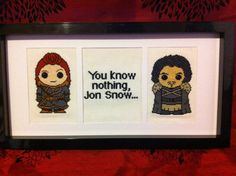 Game of Thrones Jon Snow & Ygritte framed cross by Stitchofhorror
