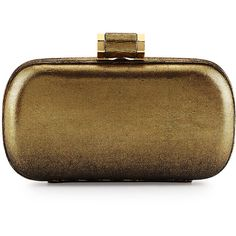 Halston Heritage Metallic Oblong Minaudiére Evening Clutch Bag ($195) ❤ liked on Polyvore featuring bags, handbags, clutches, metallic purse, special occasion purses, halston heritage handbags, halston heritage and evening purse