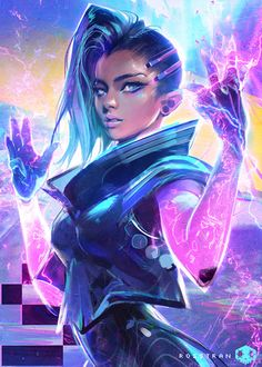 Sombra  - Overwatch fan art by Ross Tran    More Sombra related... #DiscoverArt - http://wp.me/p6qjkV-l3x  #Art