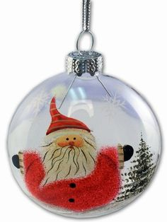Puzzled, Inc. Hand Painted Clear Glass Christmas Santa - Ball Ornament | eBay
