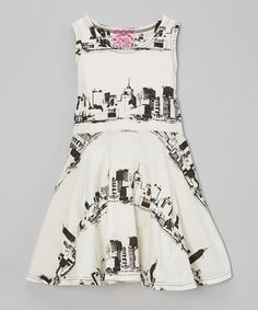 Another great find on #zulily! Cream & Black NYC Skater Dress - Infant, Toddler & Girls #zulilyfinds