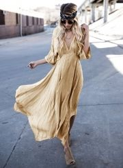 Women's V Neck 3/4 Sleeve Loose Fit Solid Maxi Dress