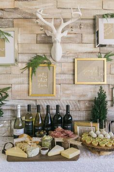Holiday Wine + Craft Party from One Hope Wine + J Wiley Photography, gold frames, wall collage, wall quotes, antlers. Party Dips, Appetizer Party, Party Party, House Party, Appetizer Table Display, Appetizers Table, Table Party, Cheer Party, Meat Appetizers