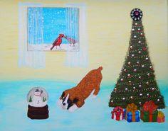 Sale! Christmas ORIGINAL Acrylic Painting 16X20 snow globe snowman dog cardinal christmas tree scene merry  dog presents beveled beads by ABrushOfLife on Etsy